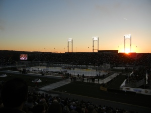 The sun sets over Hersheypark Stadium as the AHL Outdoor Classic gets underway on January 20. (Tim Kolupanowich/CM)